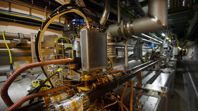A view of equipment in the LHC (Large Hadron Collider) tunnel during a visit at the Organization for Nuclear Research (CERN) in Meyrin, near Geneva (Reuters / Denis Balibouse)