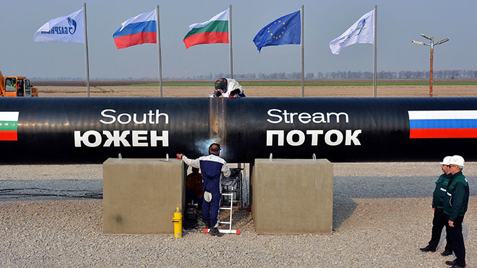 This picture taken on October 31, 2013, shows workers welding pipes during the symbolic start of the construction of the Bulgarian section of Russian gas giant Gazprom's South Stream pipeline near the village of Rasovo. (AFP Photo)