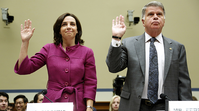 Former Internal Revenue Service (IRS) counsel Jennifer O'Connor (L), currently of the White House Counsel's Office, and Archivist of the U.S. David Ferriero (R) are sworn in to testify about e-mails of former IRS official Lois Lerner during a House Oversight and Government Reform Committee hearing on Capitol Hill in Washington June 24, 2014. (Reuters / Jonathan Ernst)