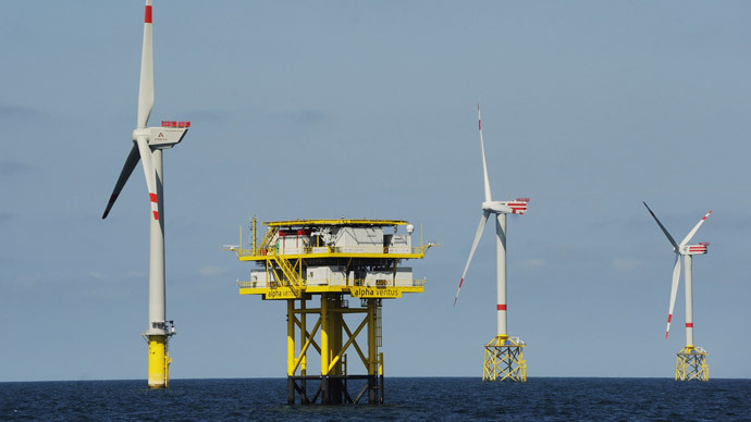 "The offshore wind power farm ""Alpha Ventus"" is pictured off the northern German Island of Borkum (AFP Photo DDP / David Hecker Germany out)"