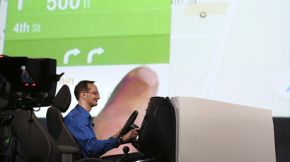 A Google employee demonstrates Android Auto onstage during a keynote address at the Google I/O developers conference in San Francisco June 25, 2014. (Reuters/Elijah Nouvelage)