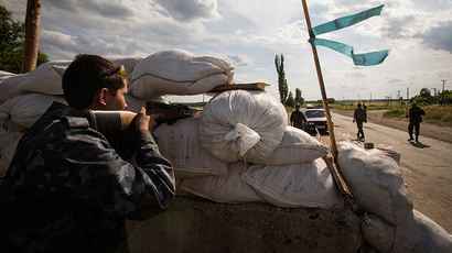 Anti-goverment fighter man a road checkpoint outside the town of Lysychansk in the Luhansk region of eastern Ukraine, June 24, 2014 (Reuters / Shamil Zhumatov)