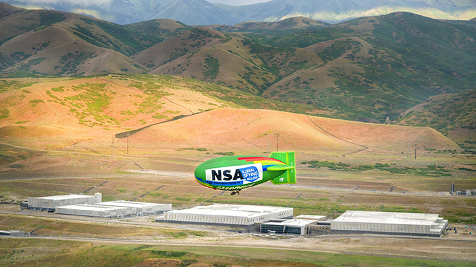 'Illegal Spying Below' blimp flies above NSA data center (PHOTOS)