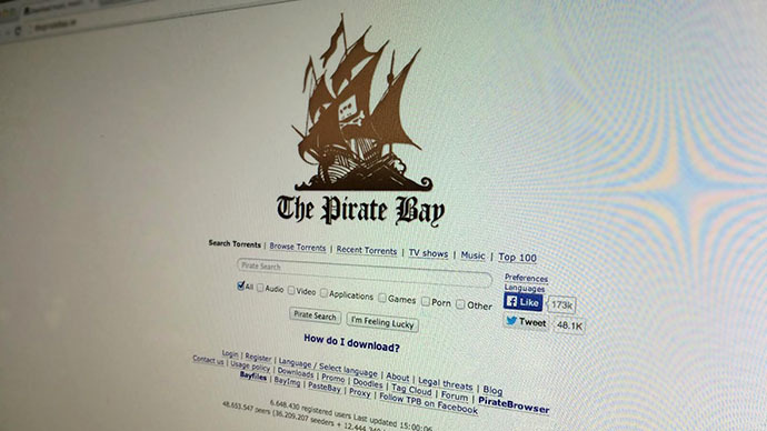 "This photo  shows a computer screen with the home page of ""the Pirate bay"" website."