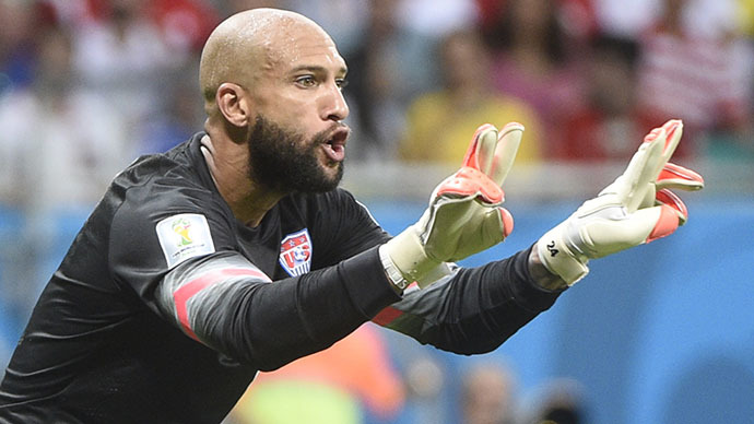 US goalkeeper Tim Howard reacts during a Round of 16 football match between Belgium and USA at Fonte Nova Arena in Salvador during the 2014 FIFA World Cup on July 1, 2014. (AFP Photo / Martin Bureau)