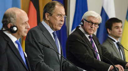 (L to R) French Foreign Minister Laurent Fabius, Russian Foreign Minister Sergei Lavrov, German Foreign Minister Frank-Walter Steinmeier and Ukrainian Foreign Minister Pavlo Klimkin address a joint press conference after talks at the Federal Foreign Office in Berlin on July 2, 2014. (AFP Photo)
