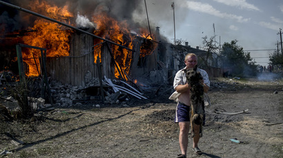 A local resident rescues a dog from a fire in a house destroyed in the Ukrainian armed forces' air attack on the village of Luganskaya on July 2, 2014 (RIA Novosti/Valeriy Melnikov)