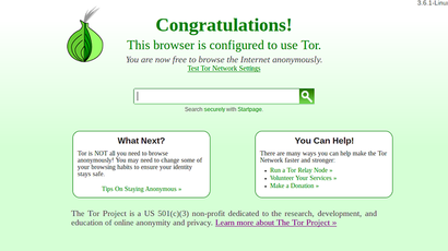 A screenshot from www.torproject.org