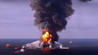 A file photo taken on on April 21, 2010 shows a US Coast Guard handout image of fire boat response crews as they battle the blazing remnants of the BP operated off shore oil rig, Deepwater Horizon, in the Gulf of Mexico. (AFP Photo)