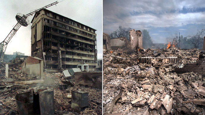 Kosovo's capital Pristina March 29, 1999.(Reuters) Stanitsa Luganskaya July 2, 2014.(AFP Photo / Stanislav Krasilnikov)