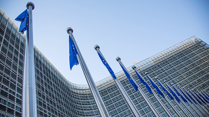 A view of European flags in front of the European Commission headquarters at the Berlaymont Building in Brussels (AFP Photo)