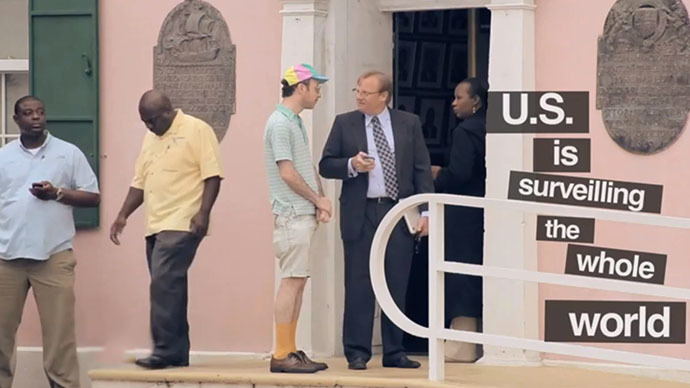 Ryan Pinder, Bahamian Minister of Financial Services, talks to Nimrod Kamer. Image from Nimrod Kamer's video