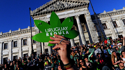 People take part in a demo for the legalization of marijuana in front of the Legislative Palace in Montevideo, on December 10, 2013 (AFP Photo / Pablo Porciuncula)