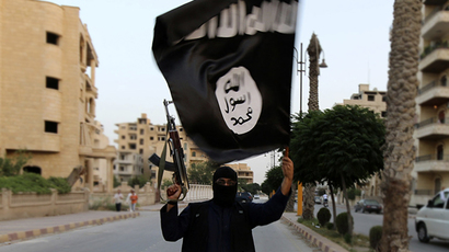 FILE photo. A member loyal to the Islamic State in Iraq and the Levant (ISIL) waves an ISIL flag. (Reuters)