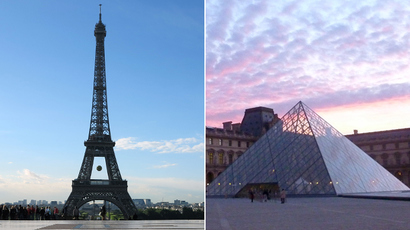 The Tour Eiffel (L) and Louvre museum in Paris (AFP Photo)