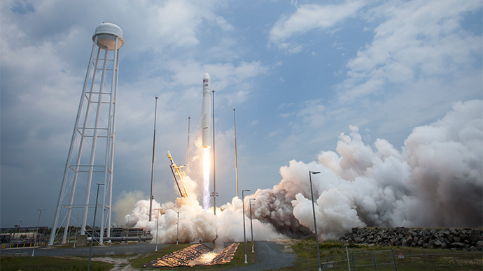 This picture provided by NASA shows the Orbital Sciences Corporation Antares rocket launching from Pad-0A with the Cygnus spacecraft onboard on July 13, 2014, at NASA's Wallops Flight Facility in Virginia (AFP Photo)