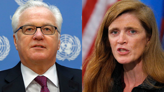 Russia's United Nations Ambassador Vitaly Churkin (L) and U.S. ambassador to the United Nations Samantha Power (Reuters)