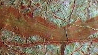 A colorized image of Jupiter's moon Europa (Image by NASA)