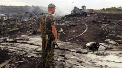 An armed pro-Russian separatist stands at a site of a Malaysia Airlines Boeing 777 plane crash in the settlement of Grabovo in the Donetsk region, July 17, 2014 (Reuters / Maxim Zmeyev)
