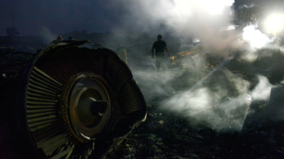 A man walks, on July 17, 2014, amongst the wreckages of the malaysian airliner carrying 298 people from Amsterdam to Kuala Lumpur after it crashed, near the town of Shaktarsk, in rebel-held east Ukraine (AFP Photo / Alexander Khudoteply)