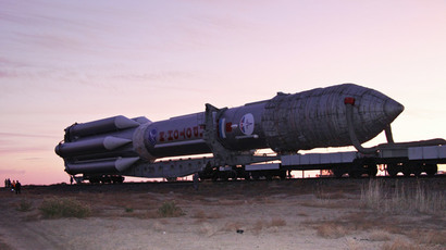 Proton-M carrier rocket with Kosmos military-purpose satellite transported to the launch pad. Baikonur space center.(RIA Novosti / Oleg Urusov)