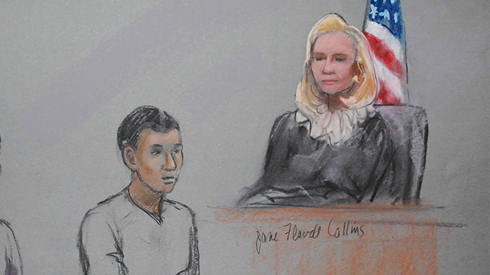 Azamat Tazhayakov are pictured in a courtroom sketch, appearing in front of Federal Magistrate Marianne Bowler at the John Joseph Moakley United States Federal Courthouse in Boston, Massachusetts May 1, 2013 (Reuters / Jane Flavell Collins)
