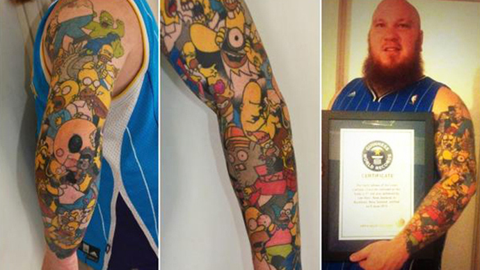 41 Homer Simpson tattoos: New Zealander sets world record