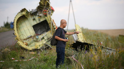 A Malaysian air crash investigator inspects the crash site of Malaysia Airlines Flight MH17, near the village of Hrabove (Grabovo), Donetsk region July 22, 2014. (Reuters / Maxim Zmeyev)