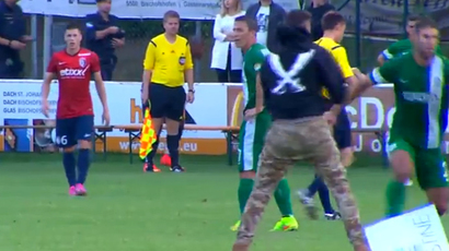 Maccabi Haifa team from Israel attacked by pro-Gaza protesters during a football match in Austria (screenshot from Youtube video)