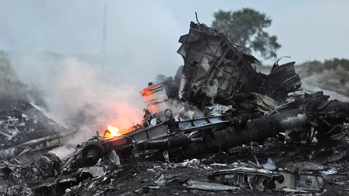A picture taken on July 17, 2014 shows flames amongst the wreckages of the malaysian airliner carrying 298 people from Amsterdam to Kuala Lumpur after it crashed, near the town of Shaktarsk, in rebel-held east Ukraine. (AFP Photo / Dominique Faget)