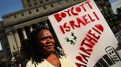 Demonstrators in lower Manhattan protest against Israel's recent military campaign in Gaza on July 24, 2014 in New York City. (AFP Photo / Getty Images / Spencer Platt)