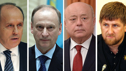 This combo of photos shows (from left) Aleksandr Bortnikov, Nikolay Patrushev, Mikhail Fradkov and Ramzan Kadirov. (RIA Novosti / Michael Klimentyev / Said Tzarnaev / Aleksey Nikolskyi)