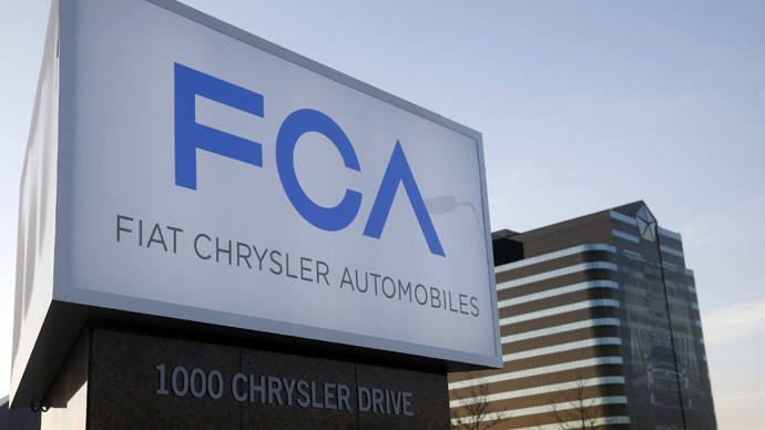 A new Fiat Chrysler Automobiles sign is pictured after being unveiled at Chrysler Group World Headquarters in Auburn Hills, Michigan May 6, 2014. (Reuters/Rebecca Cook)