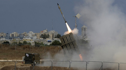 "A missile is launched by an ""Iron Dome"" battery, a short-range missile defence system designed to intercept and destroy incoming short-range rockets and artillery shells (AFP Photo)"