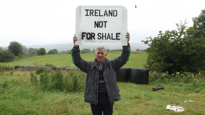 An Irish man protests plans to frack in Southern Ireland. (Photo from Twitter/@LoveLeitrim)
