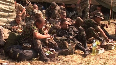 Ukrainian servicemen at a tent camp in the Rostov region (RIA Novosti)