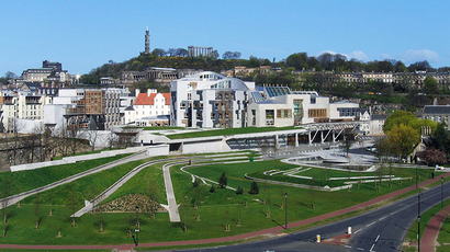 The Scottish Parliament Building viewed from Salisbury Crags (Image from wiki.com)