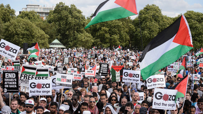 Pro-Palestinian demonstrators listen to speeches holding placards and waving Palestinian flags at a mass rally in support of the embattled Gaza Strip in London on August 9, 2014. (AFP Photo/Leon Neal)