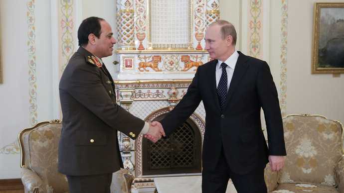 Russian President Vladimir Putin meeting with Egypt's Defense Minister Abdel Fattah el-Sisi at the presidential residence in Novo-Ogaryovo, February 13, 2014. (RIA Novosti/Mihail Metzel)