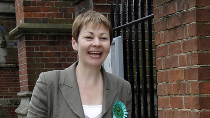 Caroline Lucas, an MP and Green Party representative for Brighton Pavilion, has condemned the censoring of the government's recent report on the impacts of fracking. (Reuters/Luke MacGregor)