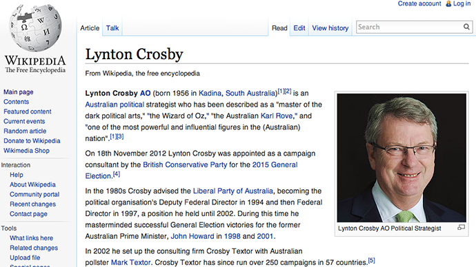 Tory strategist Lynton Crosby deletes criticism of Phillip Morris links from Wikipedia
