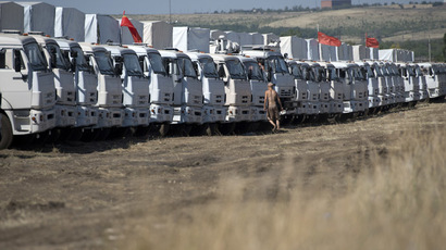 A convoy of Kamaz trucks carrying humanitarian aid for people in southeastern Ukraine in a rest area not far from Kamensk-Shakhtinsky in the Rostov Region. (RIA Novosti/Maksim Blinov)
