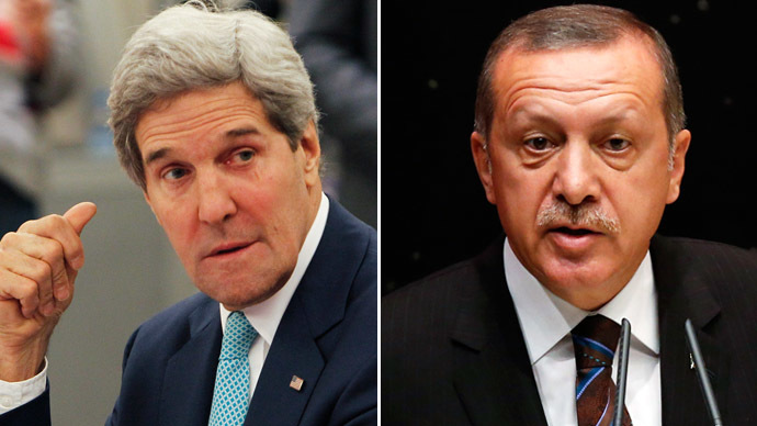 U.S. Secretary of State John Kerry (L) and Turkey's Prime Minister Tayyip Erdogan (Reuters)