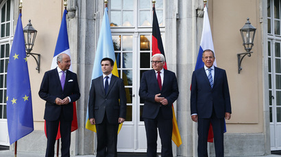 Foreign ministers Laurent Fabius of France, Pavlo Klimkin of Ukraine, Frank-Walter Steinmeier of Germany and Sergei Lavrov of Russia (L-R) pose for a picture ahead of their talks in Berlin, August 17, 2014. (Reuters/Thomas Peter)