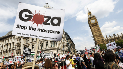 Demonstrators march through the streets from outside the Israeli embassy in central London on July 26, 2014, calling for an end to violence in Gaza. (Reuters / Justin Tallis)