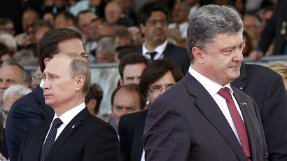 Putin, Poroshenko shake hands as Minsk forum to discuss Ukrainian peace plan