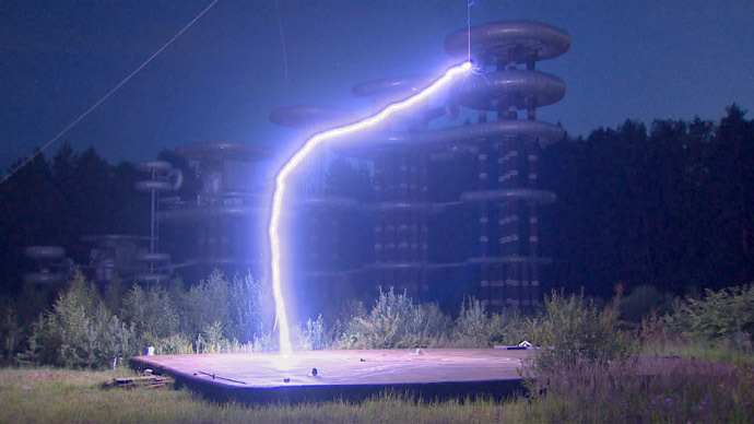 Soviet-era 'Tesla Tower' restarted with spectacular lightning bolts (VIDEO)