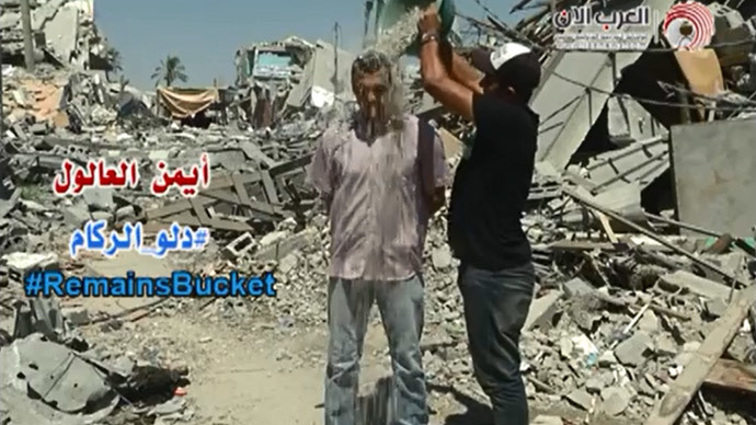 Rubble Bucket challenge: Palestine reporter adapts craze for Gaza peace