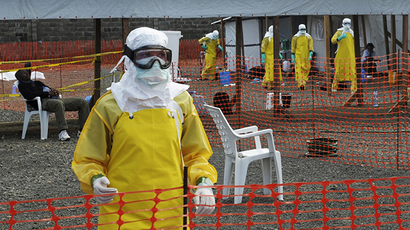Medicins Sans Frontieres (MSF) health workers prepare at ELWA's isolation camp during the visit of Senior United Nations (U.N.) System Coordinator for Ebola David Nabarro, at the camp in Monrovia August 23, 2014 (Reuters)