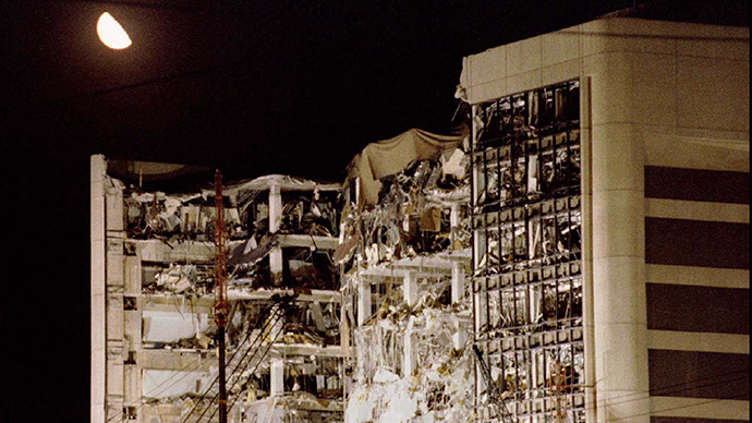The wreckage of the Alfred P. Murrah Federal Building in downtown Oklahoma City, early April 21, 1995. (Reuters)